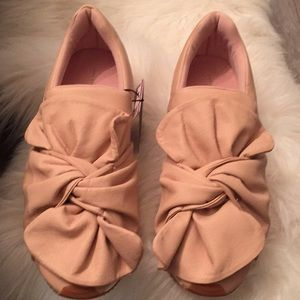 Zara Bow Sneakers Leather Pink Nude